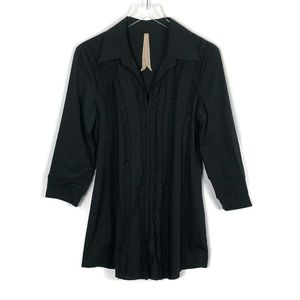 Bailey 44 Ruffle Design Popover Blouse Black Large